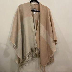 Soia & Kyo Woven Scarf Cardigan With Fringe